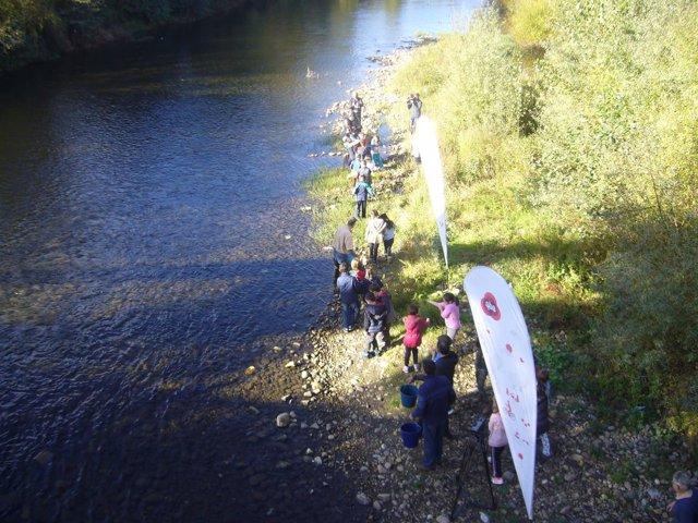 Un grupo de alumnos de El Bosquin repueblan el rio Nalón