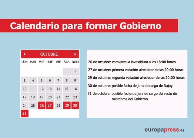 Posible calendario de investidura de Rajoy y formación de Gobierno