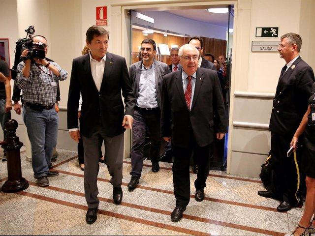 Javier Fernández y Vicente Álvarez  Areces en el Senado