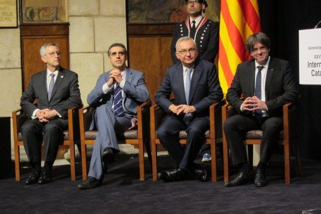 Los científicos J.Massagué, M.Esteller, J.Baselga y el pte.C.Puigdemont