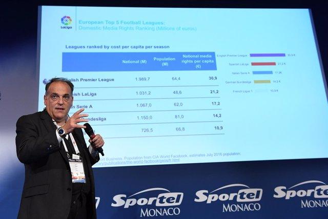 Javier Tebas en el foro Sportel Mónaco