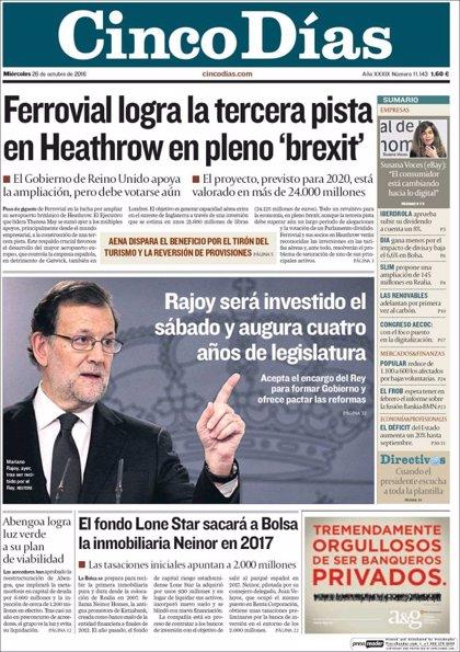 Las portadas de los periódicos económicos de hoy, miércoles 26 de octubre