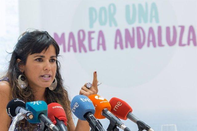 Teresa Rodríguez (Podemos) atiende a los medios en rueda de prensa