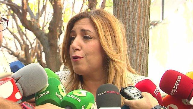 Susana Díaz en declaraciones a los periodistas