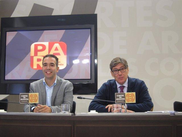 Jesús Guerrero y Arturo Aliaga (PAR), hoy en rueda de prensa en las Cortes