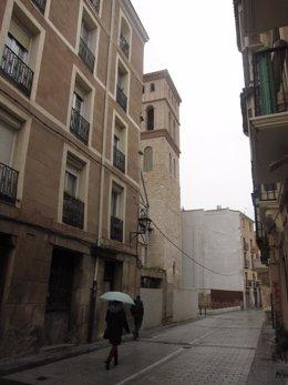 Imagen de la zona de la futura actuación con la torre de San Bartolomé