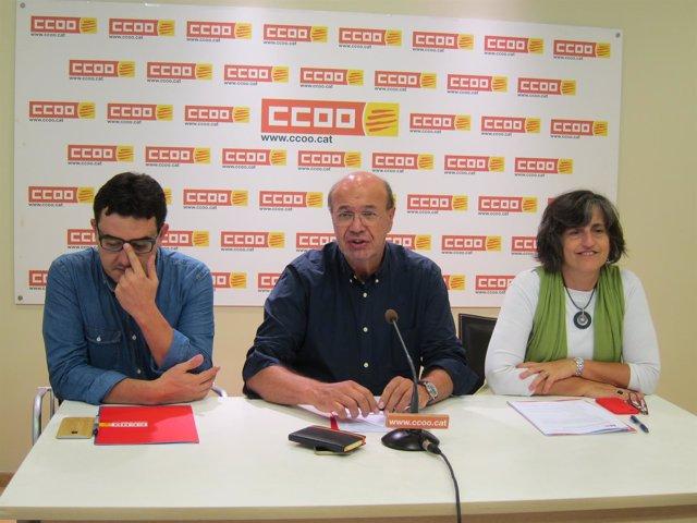 Josep Maria Romero, Joan Carles Gallego y Dolors Llobet (CCOO)