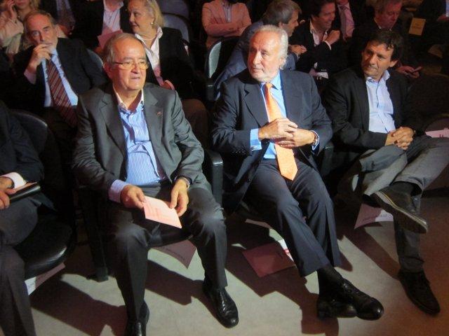 El pte.De Pimec J.González y el exdiputado e impulsor de 'Lliures' A.F.Teixidó