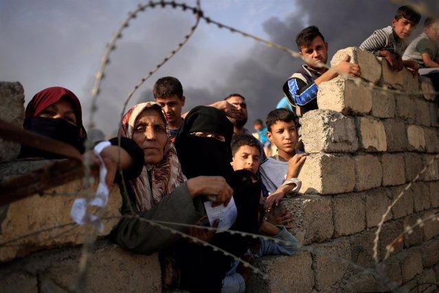 Desplazados por la ofensiva sobre la ciudad iraquí de Mosul