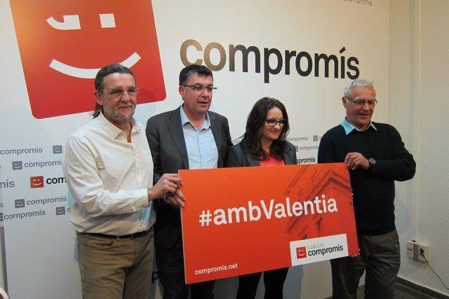 Ponce, Morera, Oltra y Ribó con el lema de campaña
