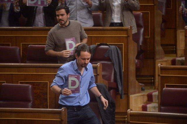Protesta de Podemos en el Congreso