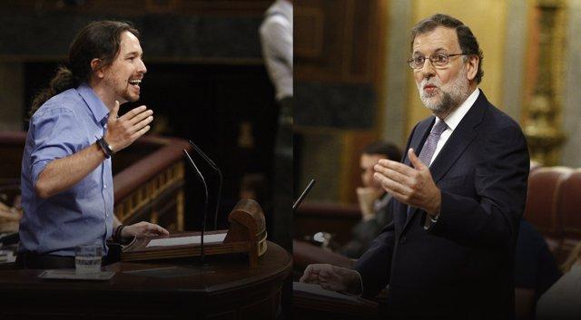 Pablo Iglesias y Rajoy en el debate de investidura