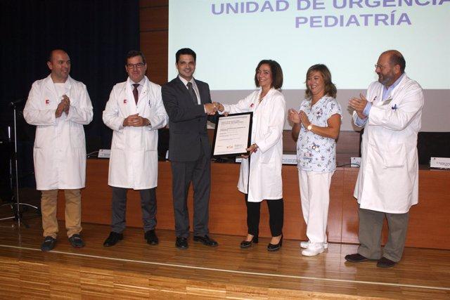 Sanidad entrega certificación ISO Unidad Urgencias Pediatría Valdecilla. 27 OCTU
