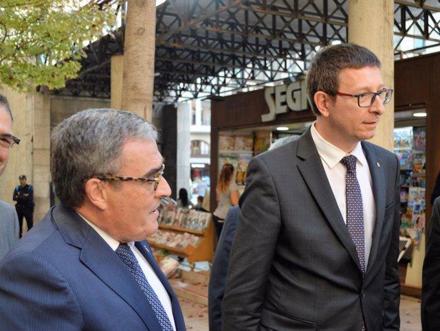 El conseller Carles Mundó y el alcalde de Lleida Àngel Ros