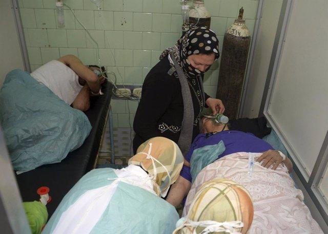 Víctimas del ataque químico en Alepo