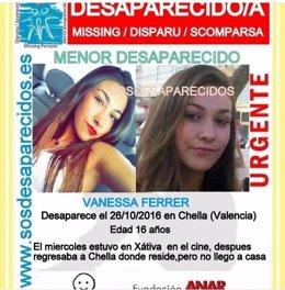 Investigan la desaparición de una niña de 15 años en Chella (Valencia)
