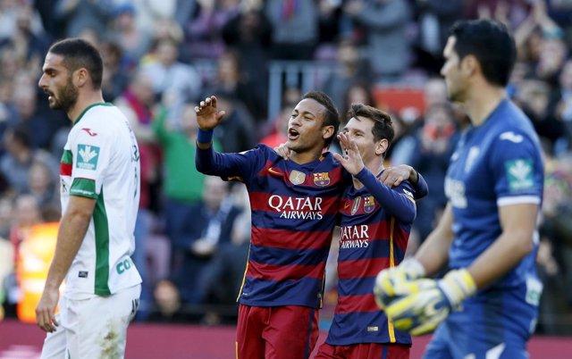 Messi y Neymar celebran gol al Granada el día que el Barça conquistó la liga