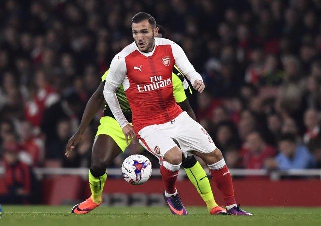 Lucas Pérez con el Arsenal