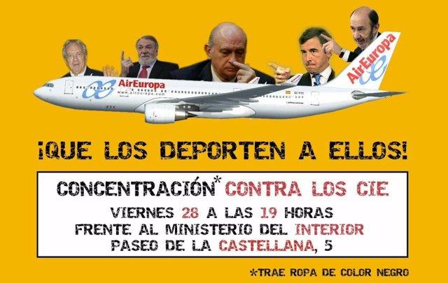 Cartel de la manifestación para el cierre de CIE frente a Interior
