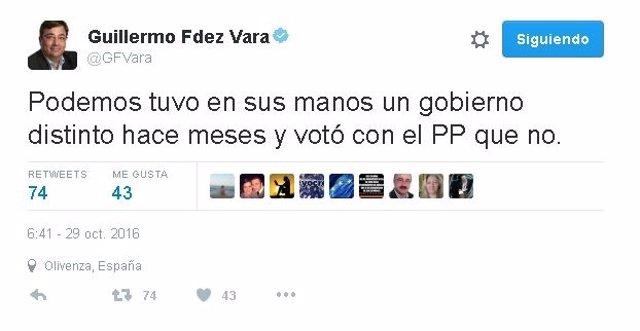 Mensaje en Twitter de Guillermo Fernández Vara