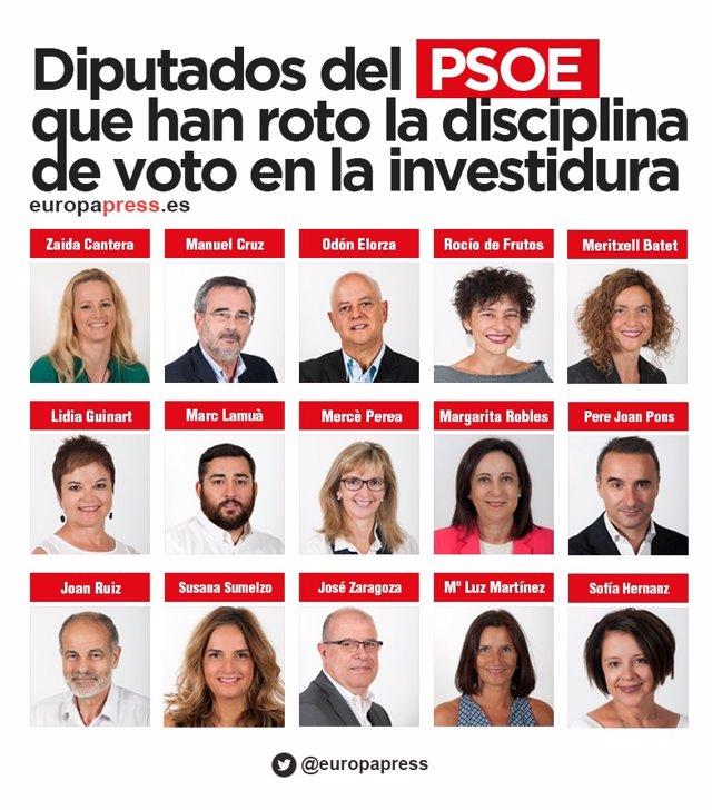Montaje de los diputados del PSOE que han roto la disciplina de voto