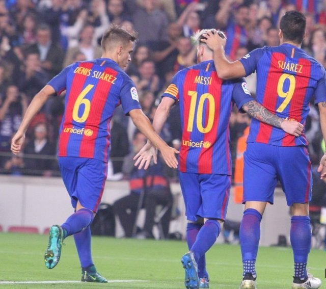 Denis Suárez Leo Messi Luis Suárez Barcelona