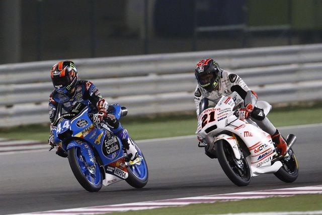 Aron Canet y Francesco Bagnaia en el gran premio de Qatar