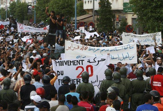 Manifestación En Marruecos Por Reforma Constitucional