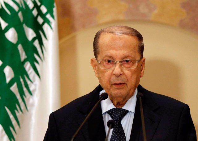 El líder del FPM y candidato a la Presidencia de Líbano, Michel Aoun
