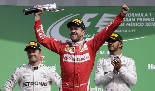 Sebastian Vettel Nico Rosberg Lewis Hamilton México