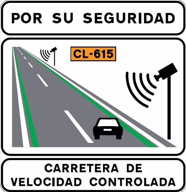 Señalización de carretera con velocidad controlada