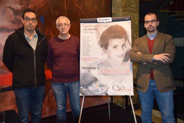 Víctor López, Alejandro Martínez y Sergio Castillo, este lunes,  en Zaragoza.