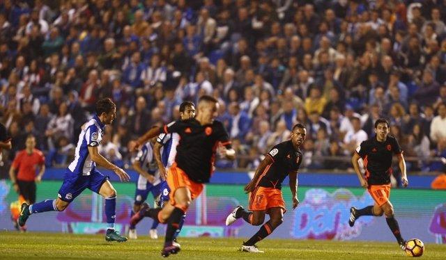 Rodrigo en el Deportivo-Valencia