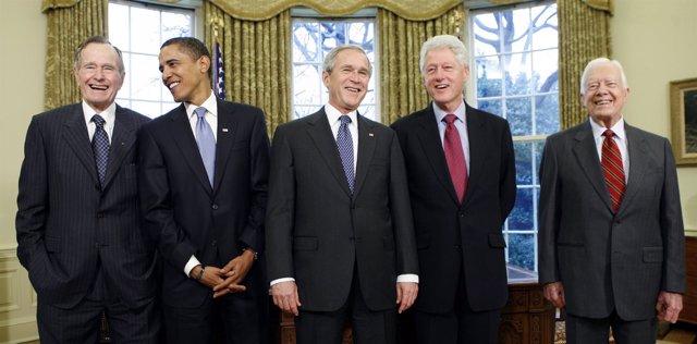 George Bush, Barack Obama, George W. Bush, Bill Clinto y Jimmy Carter