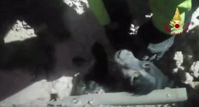 Rescate de un perro en Norcia.