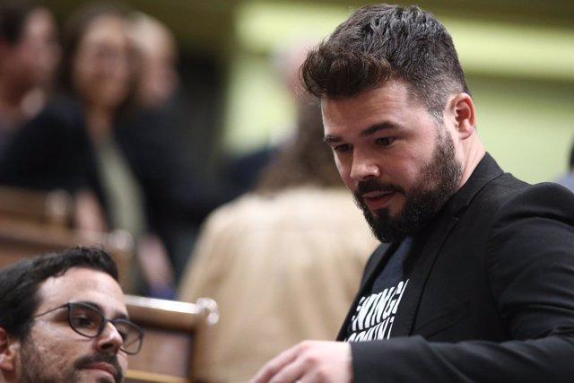Gabriel Rufián en el debate de investidura de Rajoy