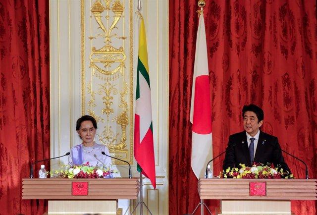 Shinzo Abe y Aung San Suu Kyi
