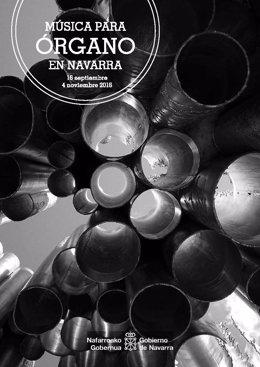 Cartel del ciclo Música para Órgano en Navarra