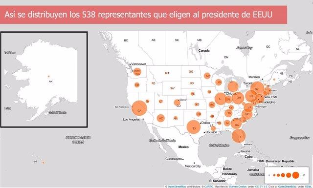 Composición del Colegio Electoral en Estados Unidos