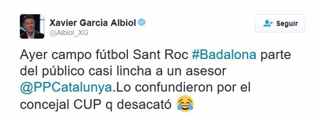 Apunte de Twitter de Xavier García Albiol (PP)