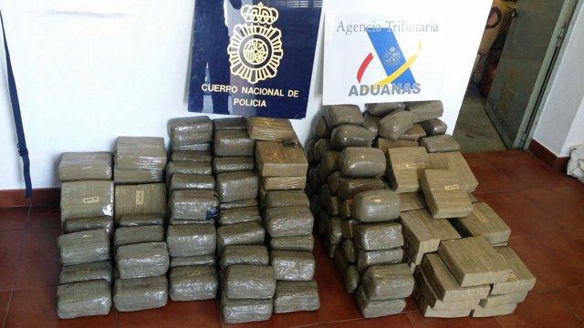 Hachís incautado por Policía Nacional y Agencia Tributaria