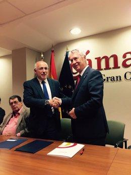 Antonio Morales y José Sánchez Tinoco este jueves en La Cámara de Gran Canaria