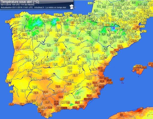 Alicante registra la temperatura más alta con 29ºC