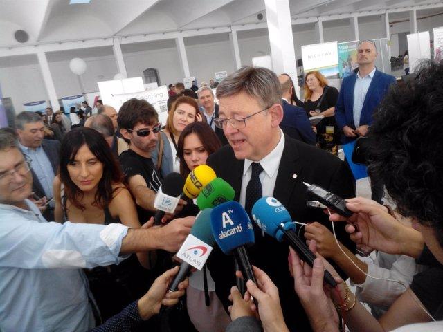 Puig atiende a los medios en Alicante