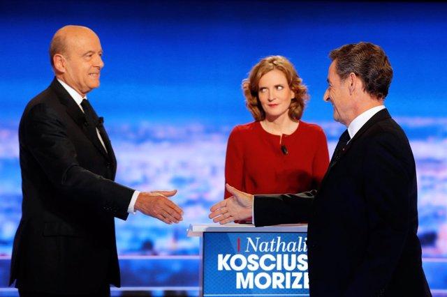 Alain Juppe y François Hollande en un debate televisivo