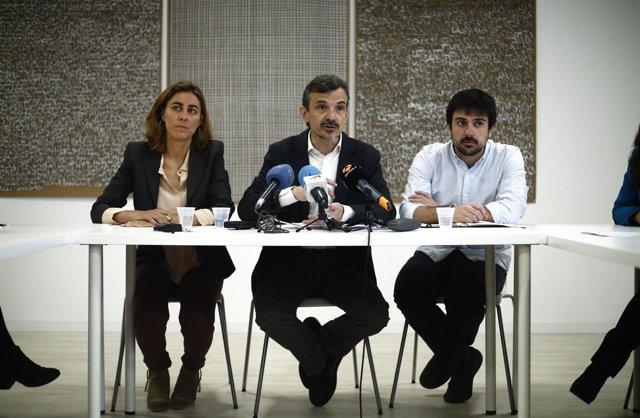 Lorena Ruiz Huerta, José Manuel López y Ramón Espinar, de Podemos