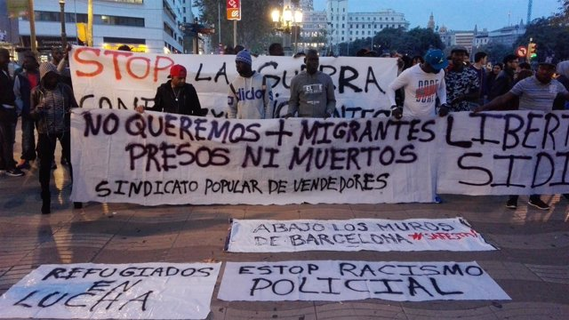Manifestación de manteros en Barcelona