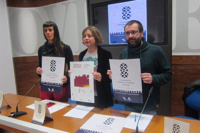 Ana Taboada, Huerta y Caunedo presentando  'II Jornadas de Patrimonio Cultural'.