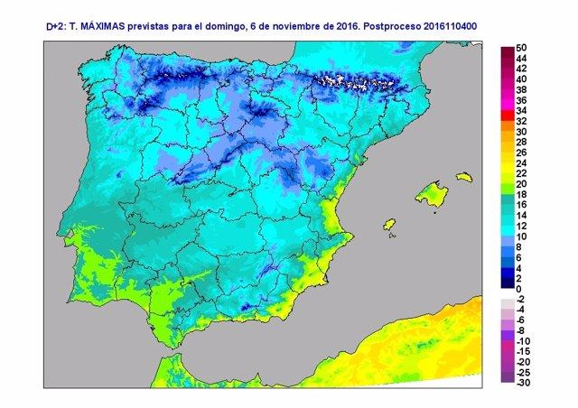 Temperaturas previstas para el domingo 6 de noviembre en España