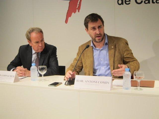 El presidente del CAC, Roger Loppacher, y el conseller de Salud, Toni Comín